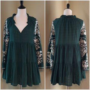 Free People Green Embroidered Dress Medium